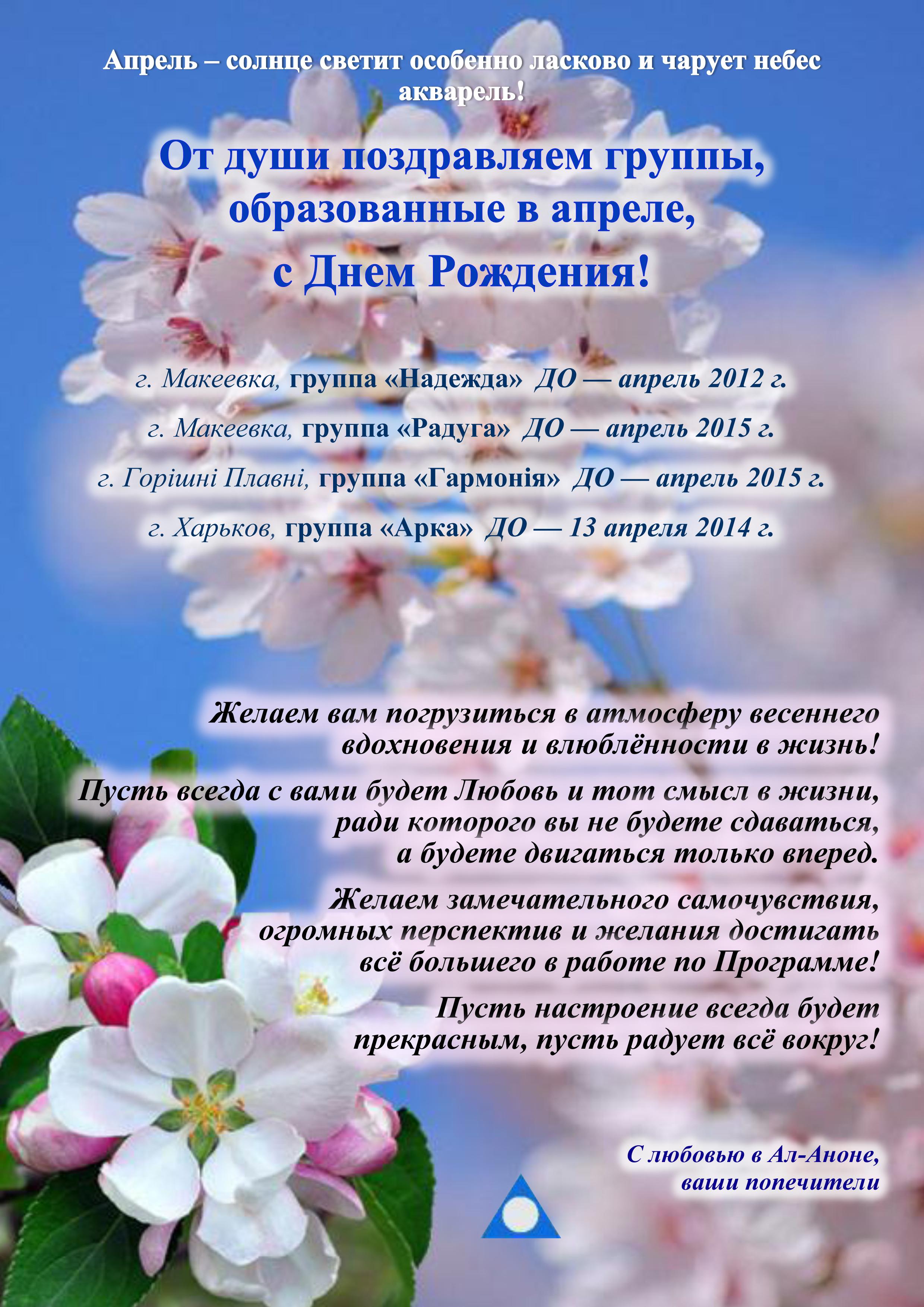 Поздравление днём рождения апрель